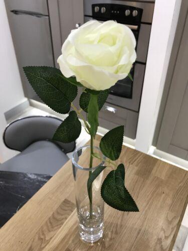 Best Artificial 45cm Single Rose Silk Flower Stem Wedding Home Arrangement New