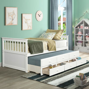 White-Bed-Frame-Storage-Twin-W-Trundle-and-Drawers-Daybed-Captain-039-s-Bed-Wood