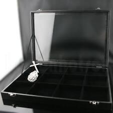 12 Grid Faux Leather Bracelet Necklace Jewellery Display Storage Box Tray Case