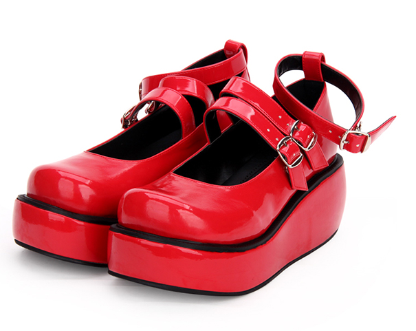 Women Sweet Wedge Mid Mid Mid Heel Lolita Thick Sole shoes Round Toe Buckle Casual Party 2a389e