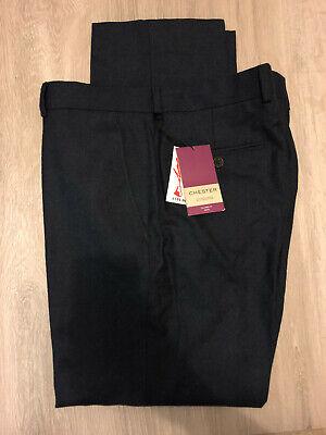 Chester Barrie Semi Plain Fresato Lana Vestito Su Misura Pantaloni, Blu Scuro, 34s, Rrp 135-mostra Il Titolo Originale Con Metodi Tradizionali