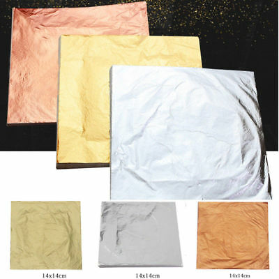 100x 14x14cm Schlagmetall Blattmetall Vergolden Blattgold Gold//Silber//Kupfer