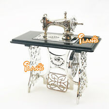 1//12 Dollhouse Miniatures Furniture Vintage Silver Sewing Machine Table Metal
