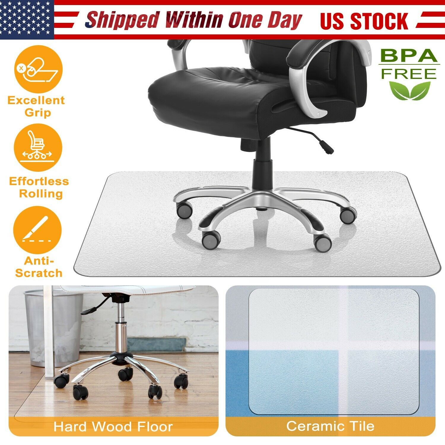 Picture of: Pvc Protector Computer Desk Chair Mat For Hardwood Floor Carpet Home Office Us For Sale Online Ebay