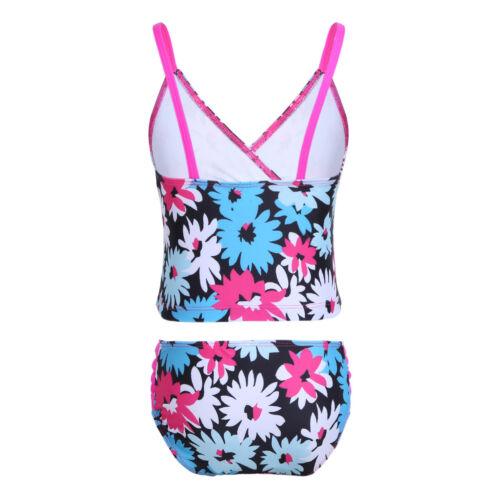 Girls Two Piece Tankini Swimsuit Halter Bathing Suit Tank Top+Bottoms Swimwear