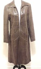 LUCIEN PICCARD Long Olive Green Distressed Soft Shiny Leather Spy Coat 10 M L