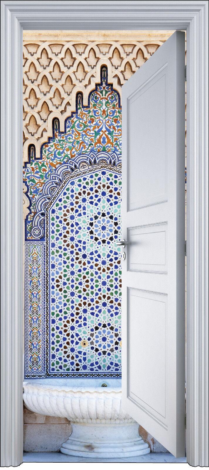 Adhesivo Puerta Trompa Trampantojo Decoración Fontaine Oriental 90x200 cm Ref