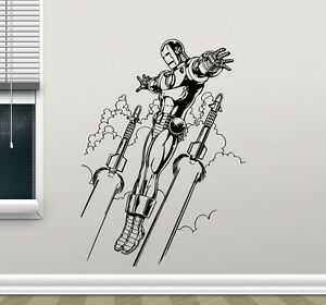 Image is loading Iron-Man-Wall-Decal-Avengers-Superheroes-Vinyl-Sticker-  sc 1 st  eBay & Iron Man Wall Decal Avengers Superheroes Vinyl Sticker Art Decor ...