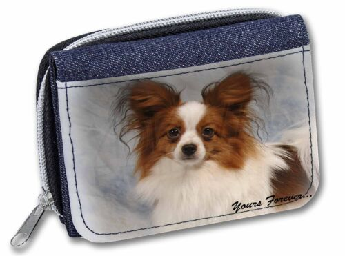 Papillon Dog /'Yours Forever/' Girls//Ladies Denim Purse Wallet Christma AD-PA1yJW