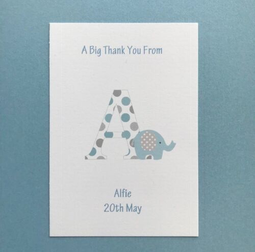 Folded Blank New Baby-Christening-Girl-Boy 10 Personalised Thank You Cards