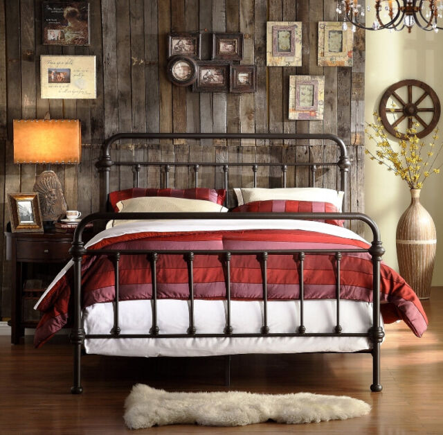Farmhouse Queen Bed Rustic Antique Metal Spindle Headboard