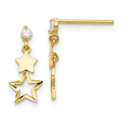 """OR 14K SUR Argent Sterling Zircone Cubique Star Dangle Boucles d/'oreilles pendantes 0.70/"""" L"""