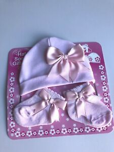 Baby Girls Pretty Hat and Socks With Satin Bow Set 0-3 /& 3-6 Months