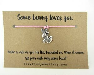 Some-Bunny-Loves-You-Silver-Pink-Rabbit-Message-Card-Wish-Bracelet-Gift-Easter