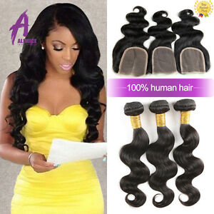 Brazilian-Hair-Human-Hair-Extensions-Weave-3-bundles-hair-with-closure-US-STOCK