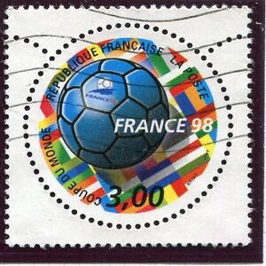TIMBRE-FRANCE-OBLITERE-N-3139-FRANCE-98-FOOTBALL