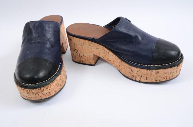 Chanel navy black 8 38 leather two tone cap toe cork platform sandal shoe $1295