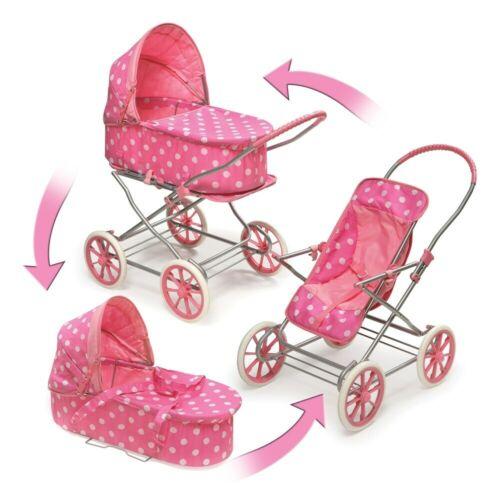 "English Style 3-in-1 Doll Pram,Carrier,Stroller  24/""Dolls Pink Polka-dot 01441"
