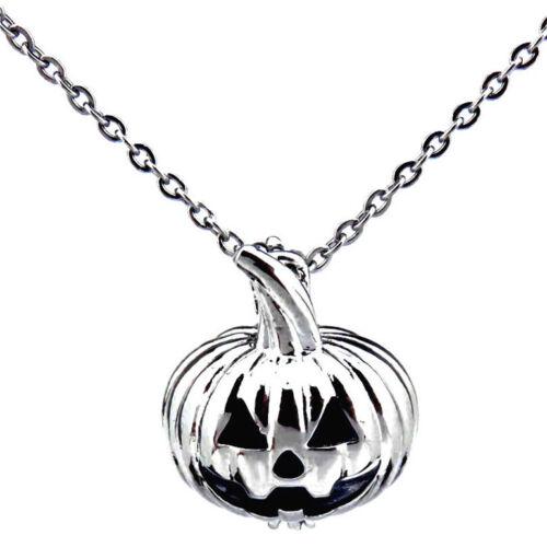 "-K389 Silver Pumpkin Pearl Cage Diffuser Locket 18/"" Steel Chain Necklace"