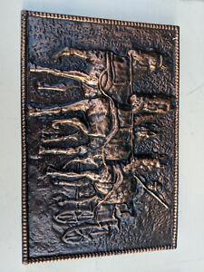 Coppered-cast-metal-plaque-27x18cm-horse-and-cart-TC260718E