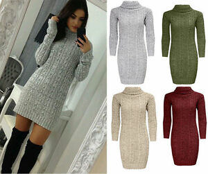 f7afa44fb3c5 Womens Ladies Polo Roll Neck Cable Knitted Bodycon Jumper Dress Top ...