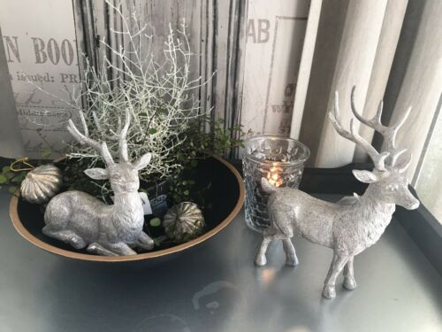 Shabby Chic CERF couché Argent 16 cm NEUF