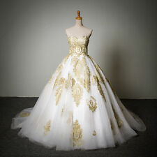 New Gold Applique Quinceanera Dresses Ball Gown Wedding Prom Pageant Paty Dress