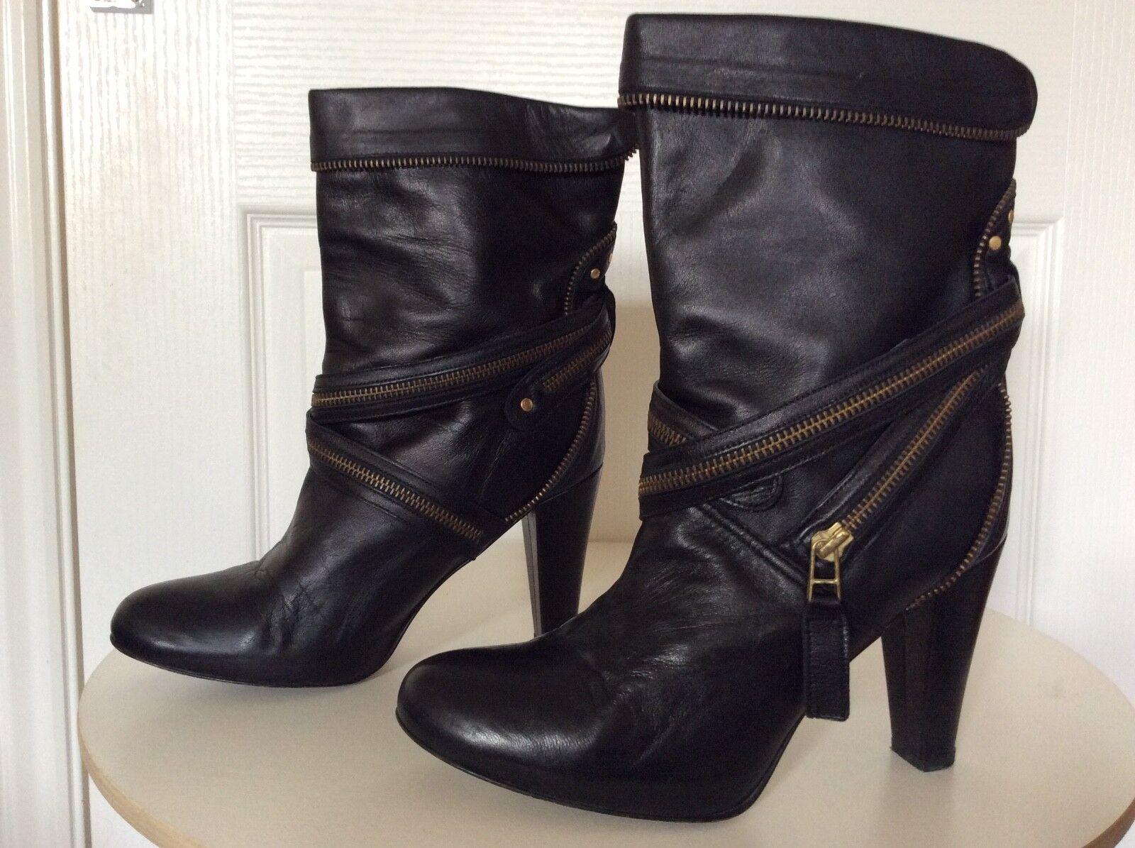 Señoras Botas De Cuero Negro Reiss De Lujo Calidad Elegante Diseño Con Cremallera en muy buena condición