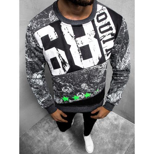 Sweatshirt Pullover Sweatjacke mit Motiv Langarmshirt OZONEE JS//DD108 Herren