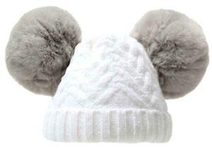 Baby Pom Pom Hat Boy Girl Double Soft Fur Pom Poms Chevron Knitted 0-18 Months