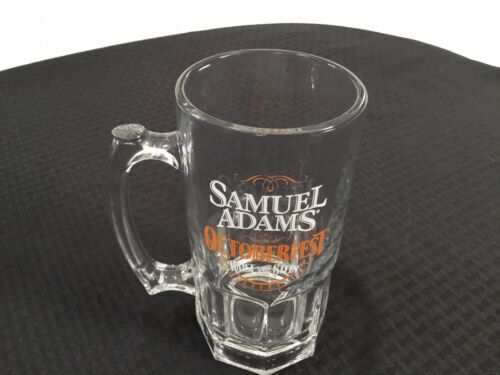 "Samuel Sam Adams Octoberfest Glass Beer Mug Stein ""Raise The Stein"" Man Cave Bar"
