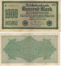 GERMANY 1000 MARK INFLATION REICH BANKNOTE 1922 CURRENCY MONEY WW1 WW2 WWI WWII
