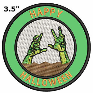 "3.5/"" Embroidered Iron or Sew-on Patch Frankenstein Happy Halloween"