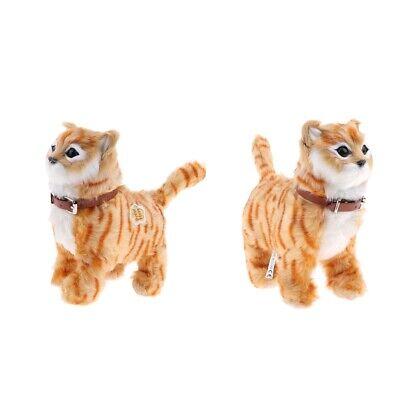 Lifelike Plush Stuffed Cat Walking Bow Cats Meow Children Electric Toy White