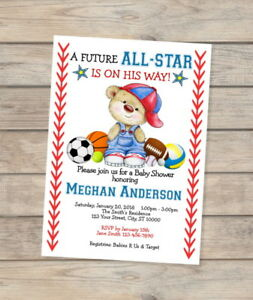 Custom all star sports baby shower invitation allstar teddy bear image is loading custom all star sports baby shower invitation allstar filmwisefo