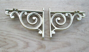 PAIR-OF-Solid-brass-Antique-Retro-Bathroom-book-shelf-Wall-Bracket-Support