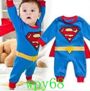 baf9cac3f Image is loading 95-Superman-Costume-Dress-SuperHero-Clothing-Baby-Toddler-