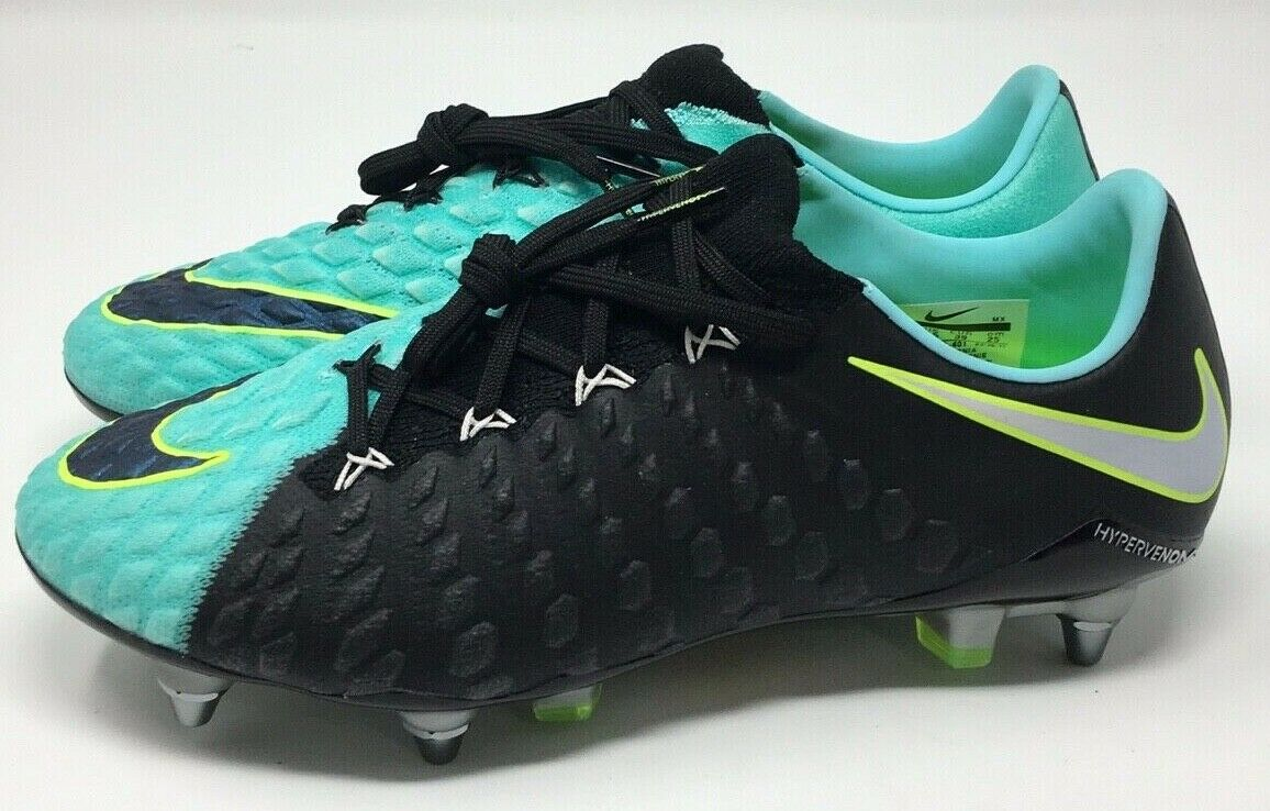 New Women's Nike Hypervenom SG-PRO Soccer Cleats Black Aqua 881550-401 Size 8