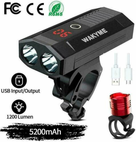 5200mAh USB Rechargeable Bicycle Light with Power Bank Fu WAKYME Bike Light Set