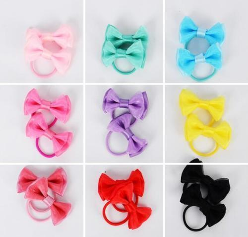 5 Pairs//10pcs Sweet  Baby Girl/'s Multi-Color Cute Small Hair Bow Ponytail Holder