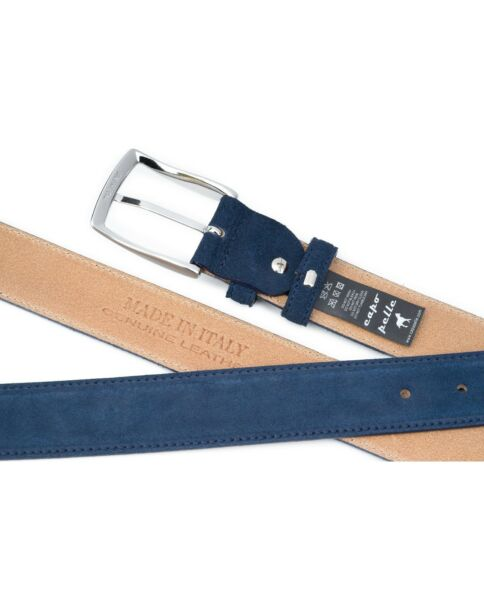 Capo Pelle Mens Leather Belts Navy Suede Dress belt Italian designer Sz 42