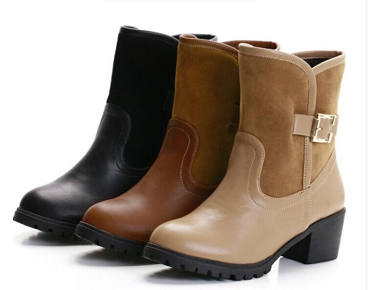 Bottes hiver confortable chaussures pour femmes comme cuir talon 5 cm 8766