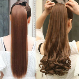 Tie-Up-Ponytail-Clip-in-Hair-Extensions-Brown-Blonde-Black-Hairpiece-Cheap-Price