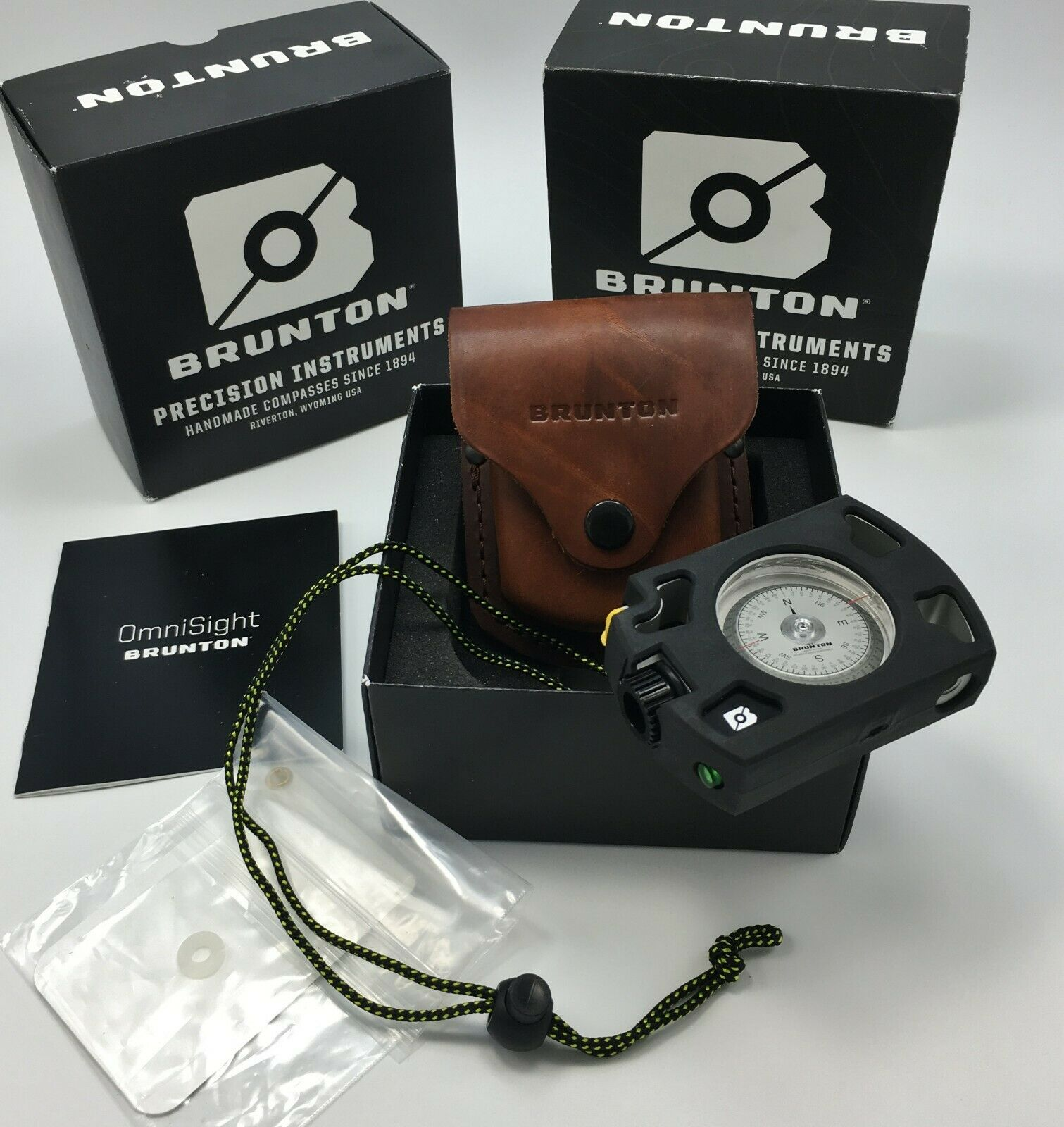 Brunton ® Omni-vista avistamiento Iluminado LED Brújula + Cochecasa De Aluminio & Vaina