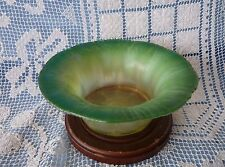 LCT TIFFANY FAVRILE Green ONION SKIN to Opalescent c.1920 GLASS BOWL #15051
