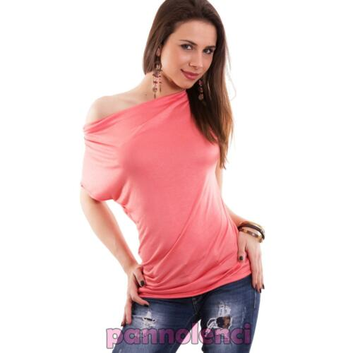 Damenpullover T-Shirt mit Kurzen Ärmeln Locken Asymmetrisch Neu As-26181