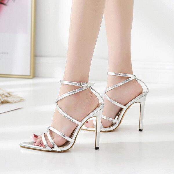 Sandalen Stilett Elegant Holzschuhe 11 cm Silber Poliert Leder Kunststoff CW865