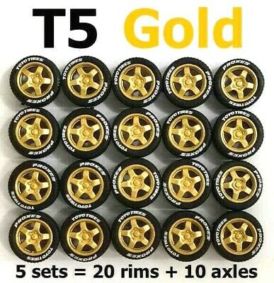 1 set 1:64 rubber tires Buddy Club P1  Racing gold rim fit Hot Wheels diecast