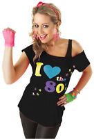 BLACK I LOVE THE 80s 1980s RETRO T-SHIRT PARTY HEN NIGHT FANCY DRESS COSTUME TOP