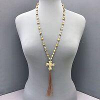Bohemian Beautifully Made Natural Brown Beaded Cross Tassel Pendant Necklace